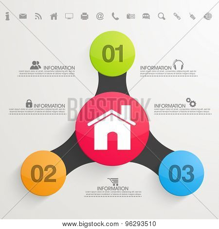 Colorful creative business infographic layout with web 2.0 icons.