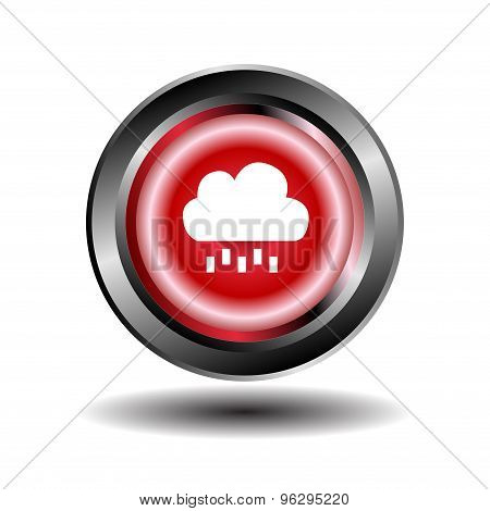 Cloud and rain icon button design template.