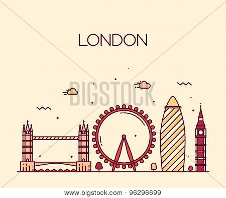 London England Trendy illustration line art style