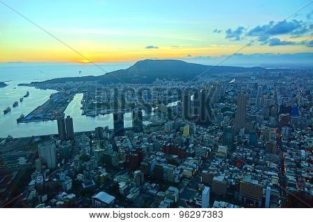 View Of Kaohsiung City And Harbor At Sunset