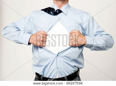 Superhero Executive Tearing His Shirt