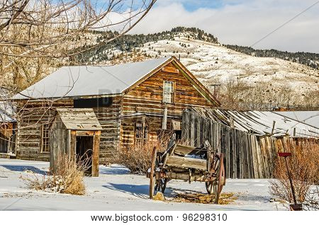 Wagon, Outhouse, House, and Structures