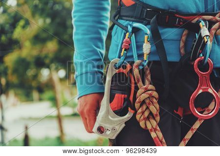 Rock Climber Wearing Safety Harness