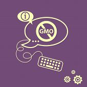 Stop GMO. Without Genetically modified food symbol. No GMO sign icon and keyboard design elements. Line icons for application development web page coding and programming creative process poster