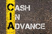 Concept image of Business Acronym CIA as Cash In Advance written over road marking yellow paint line. poster