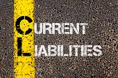 Concept image of Business Acronym CL as Current Liabilities written over road marking yellow paint line. poster