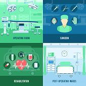 Surgery room and rehabilitation post operation ward 4 flat icons square composition banner abstract isolated vector illustration poster