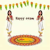 Beautiful greeting card with young women in traditional Indian greeting pose (Namaste) on colorful rangoli and flowers decorated background for South Indian festival, Happy Onam celebration. poster