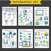 Set of different infographic templates as SEO Infographics, Business Infographics, Mobile Infographics, Social Media Infographics and Education Infographic. poster
