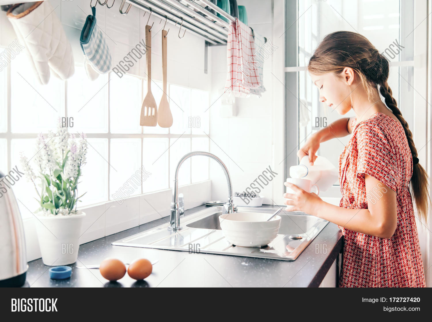 10 Years Old Kid Girl Cooking Image & Photo | Bigstock