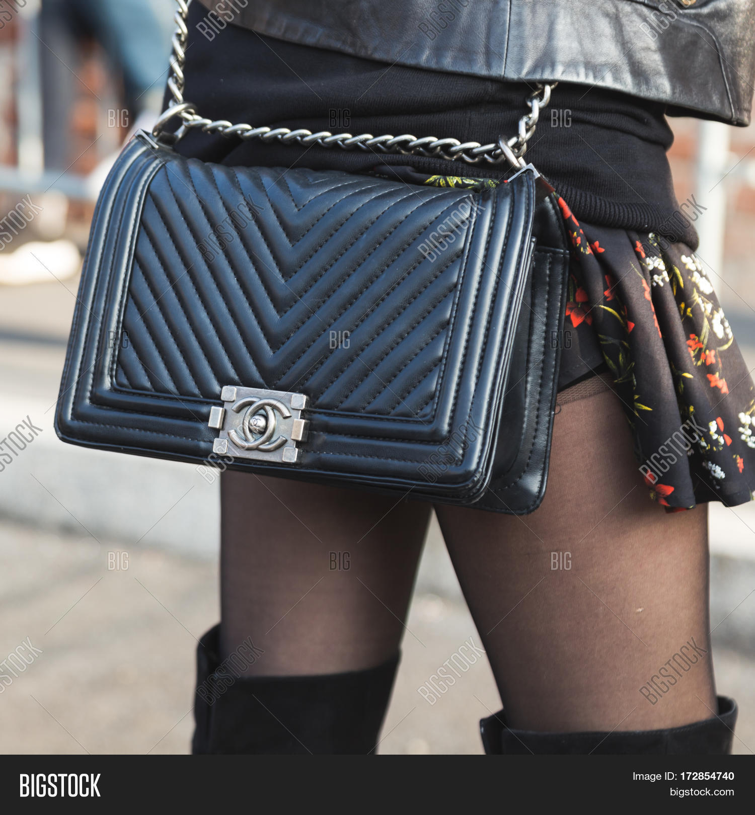cc30e191 MILAN ITALY - FEBRUARY 22: Detail of bag outside Gucci fashion show building  during Milan