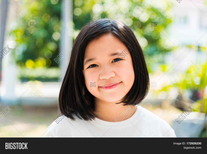 Asian teen girl face close up