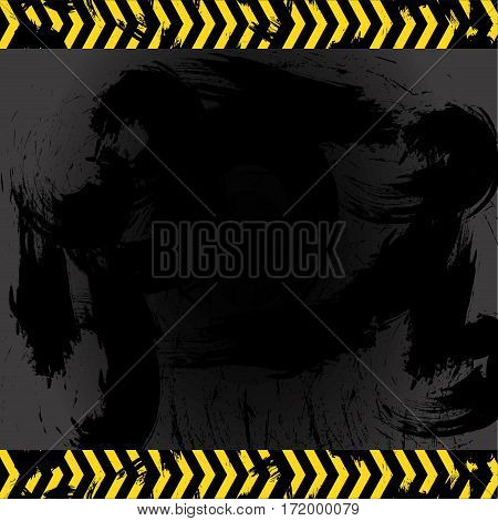 Asphalt with stains and lines pair sign caution vector illustration