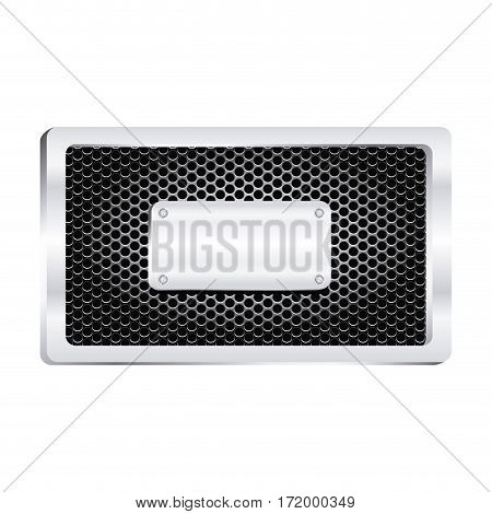 rectangle frame metallic with grill perforated and shiny brushed plaque vector illustration