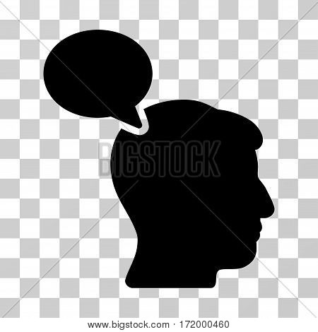 Person Opinion vector pictogram. Illustration style is a flat iconic black symbol on a transparent background.