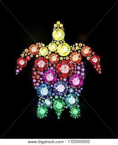 Vector turtle made of colored gems on black