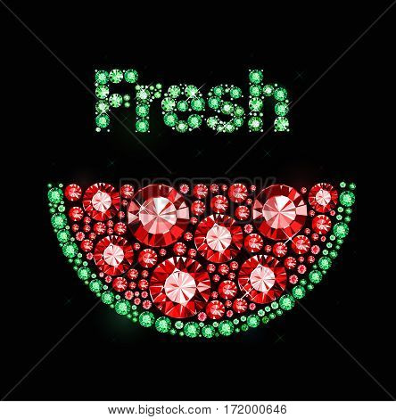 Vector watermelon made of colored gems on black