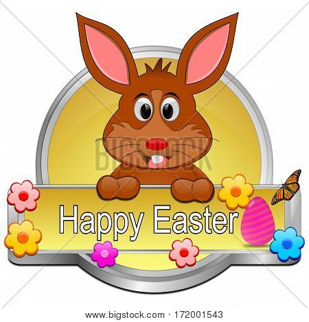 Easter bunny wishing happy easter button - 3d illustration