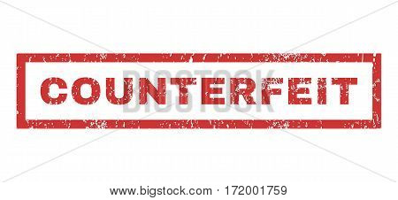 Counterfeit text rubber seal stamp watermark. Caption inside rectangular shape with grunge design and dirty texture. Horizontal vector red ink sign on a white background.
