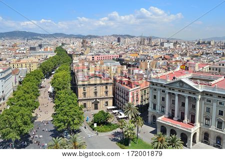 Barcelona. Top-view of the city in a sunny summer day
