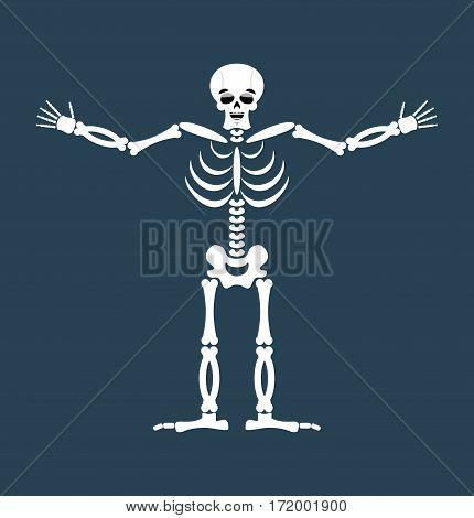 Skeleton Happy Emoji. Skull Merry Emotion Isolated. Human Bones