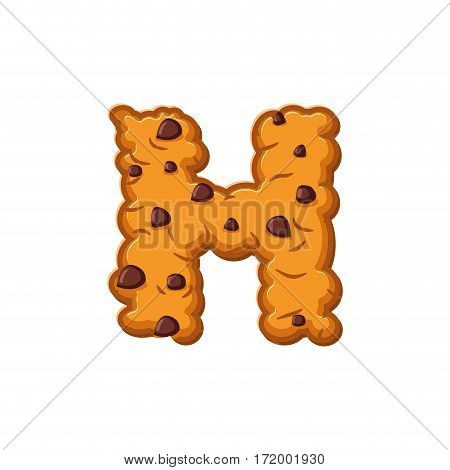 H Letter Cookies. Cookie Font. Oatmeal Biscuit Alphabet Symbol. Food Sign Abc