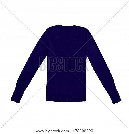dark navy blue v-neck pullover, isolated on white background
