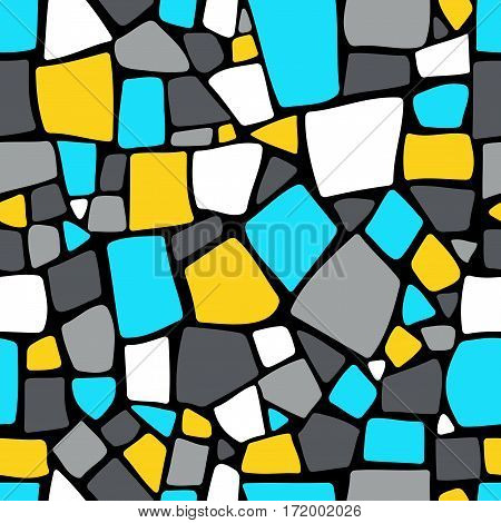 Bright hand drawn mosaic seamless pattern. Ceramic tile texture. Design element for wrapping paper, textile.