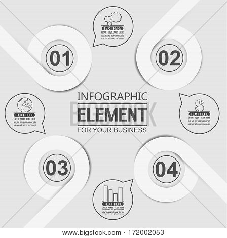 ELEMENT FOR INFOGRAPHIC TEMPLATE GEOMETRIC FIGURE OVERLAPPING CIRCLES TENTH EDITION WHITE