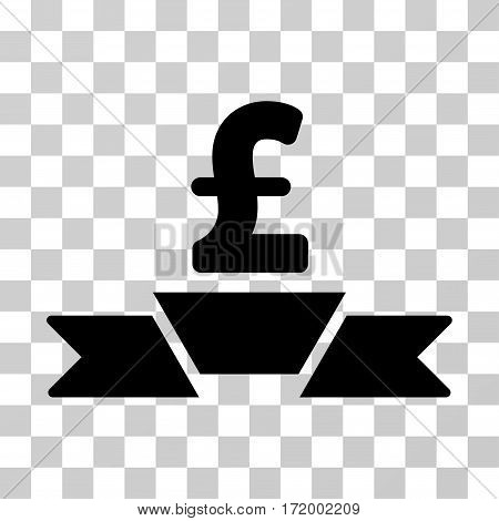 Pound Business Premium Ribbon vector pictogram. Illustration style is a flat iconic black symbol on a transparent background.