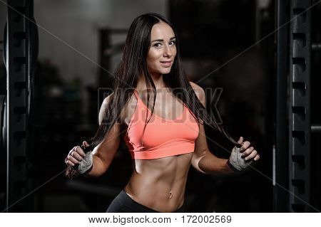 Young Sexy Fitness Woman Train And Exercising In Gym Healthy.