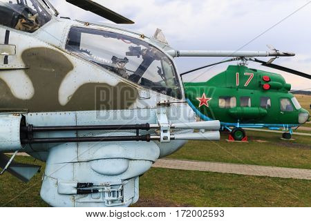 Minsk Belarus - April 25 2015: Obsolete old Soviet helicopters. Close-up of a military helicopter. Selective focus.