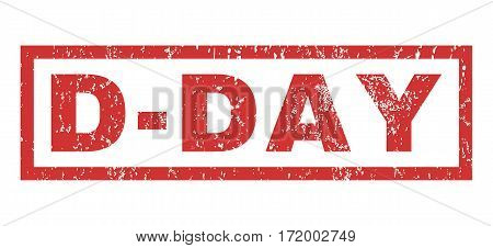 D-Day text rubber seal stamp watermark. Tag inside rectangular banner with grunge design and dirty texture. Horizontal vector red ink sticker on a white background.