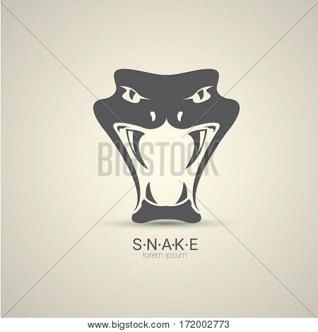 vector angry dangerous snake logo design template. danger snake icon. viper black silhouette isolated on grey