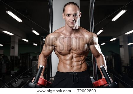 Young Man Train In Gym Healthcare Lifestyle Sexy Caucasian Man.