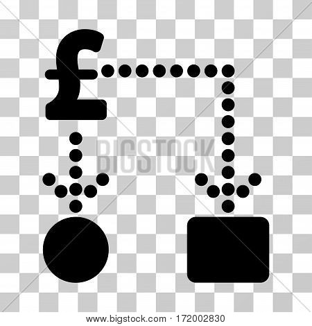Pound Cashflow vector pictograph. Illustration style is a flat iconic black symbol on a transparent background.