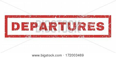 Departures text rubber seal stamp watermark. Tag inside rectangular shape with grunge design and unclean texture. Horizontal vector red ink sign on a white background.