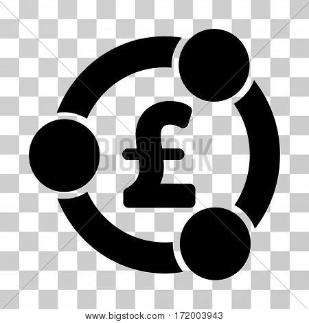 Pound Financial Collaboration vector pictograph. Illustration style is a flat iconic black symbol on a transparent background.