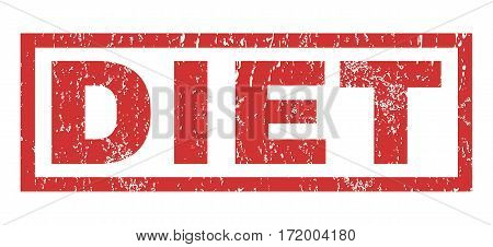 Diet text rubber seal stamp watermark. Caption inside rectangular shape with grunge design and dust texture. Horizontal vector red ink sign on a white background.