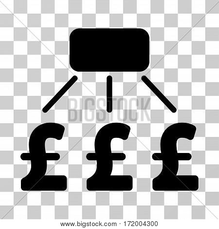 Pound Financial Scheme vector pictogram. Illustration style is a flat iconic black symbol on a transparent background.