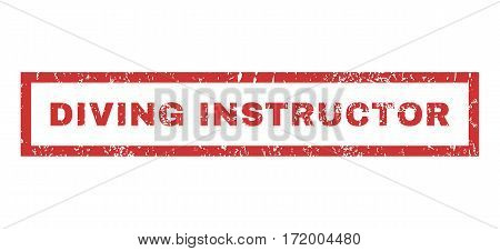 Diving Instructor text rubber seal stamp watermark. Caption inside rectangular banner with grunge design and unclean texture. Horizontal vector red ink sign on a white background.