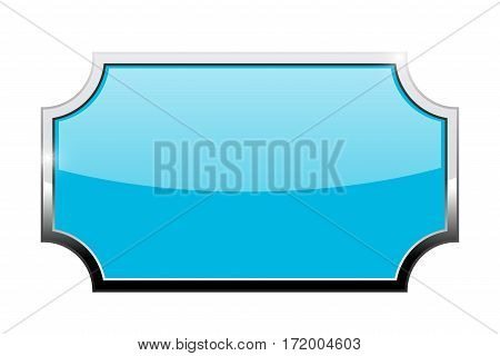 Decorative blue shield with chrome frame. Vector illustration isolated on white background
