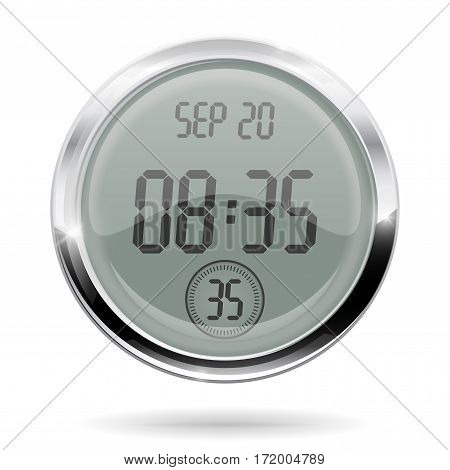 Digital round clock with chrome frame. Vector illustration isolated on white background