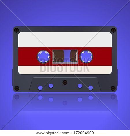 Tape cassette. Vector illustration on blue background