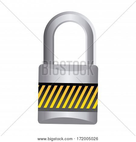metal padlock with striped colorful body and shackle vector illustration