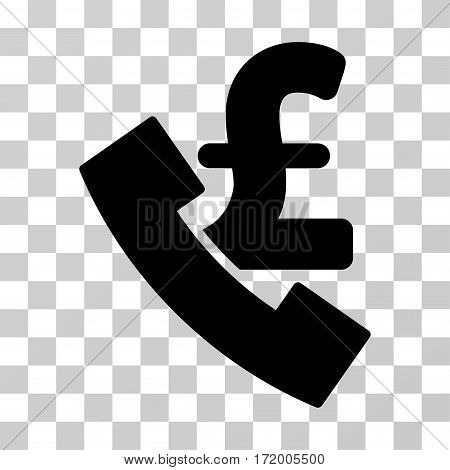 Pound Payphone vector pictograph. Illustration style is a flat iconic black symbol on a transparent background.