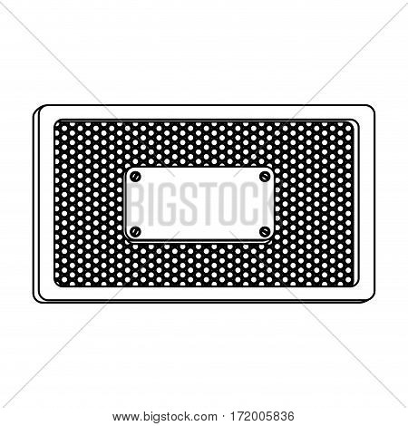 silhouette rectangle frame metallic with grill perforated and plaque vector illustration