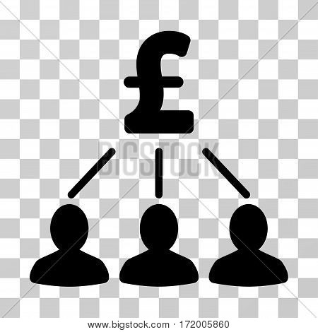 Pound Shareholders vector pictograph. Illustration style is a flat iconic black symbol on a transparent background.