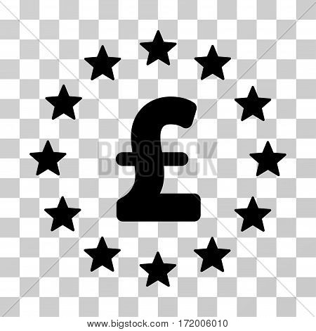 Pound Stars vector icon. Illustration style is a flat iconic black symbol on a transparent background.