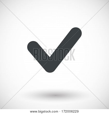 Single check mark icon. Flat design vector illustration with round shadow